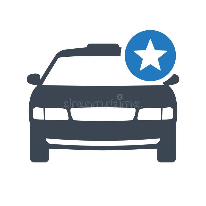 Taxi icon, transportation, taxi cab, travel concept icon with star sign. Taxi icon and best, favorite, rating symbol stock illustration