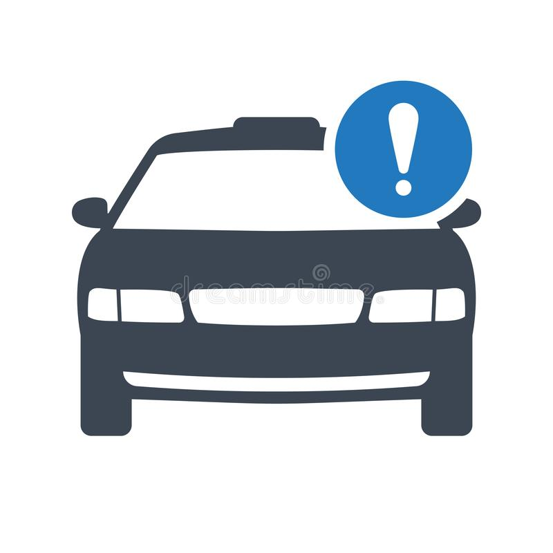 Taxi icon, transportation, taxi cab, travel concept icon with exclamation mark. Taxi icon and alert, error, alarm, danger symbol stock illustration