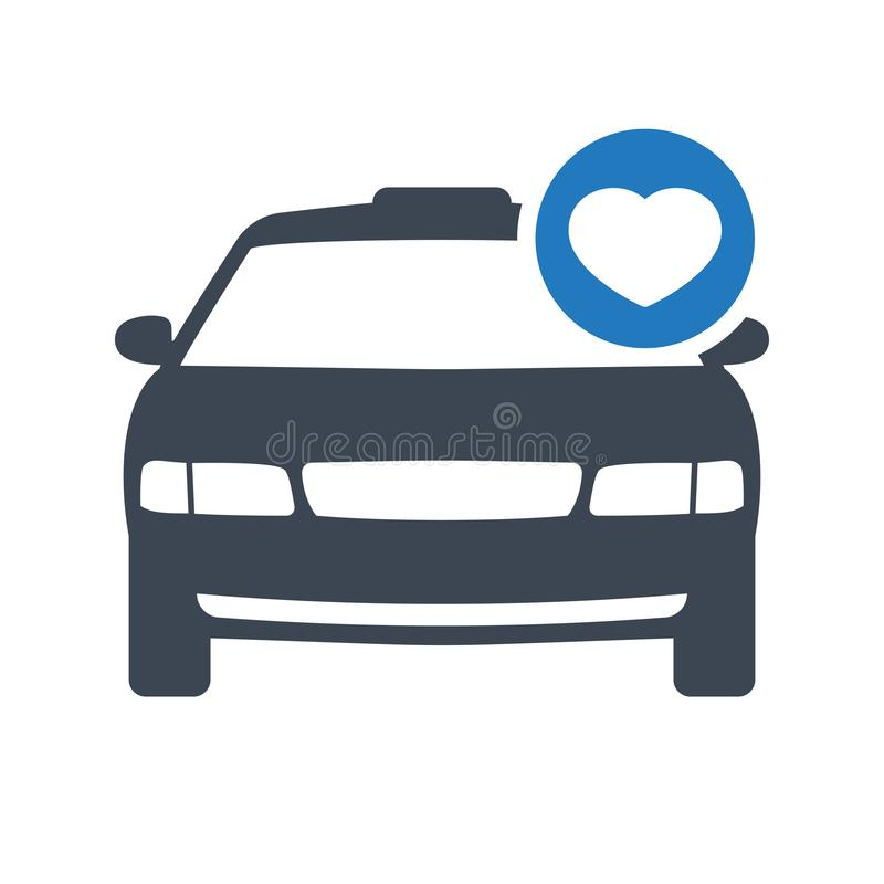 Taxi icon, transportation, taxi cab, travel concept icon with heart sign. Taxi icon and favorite, like, love, care symbol royalty free illustration