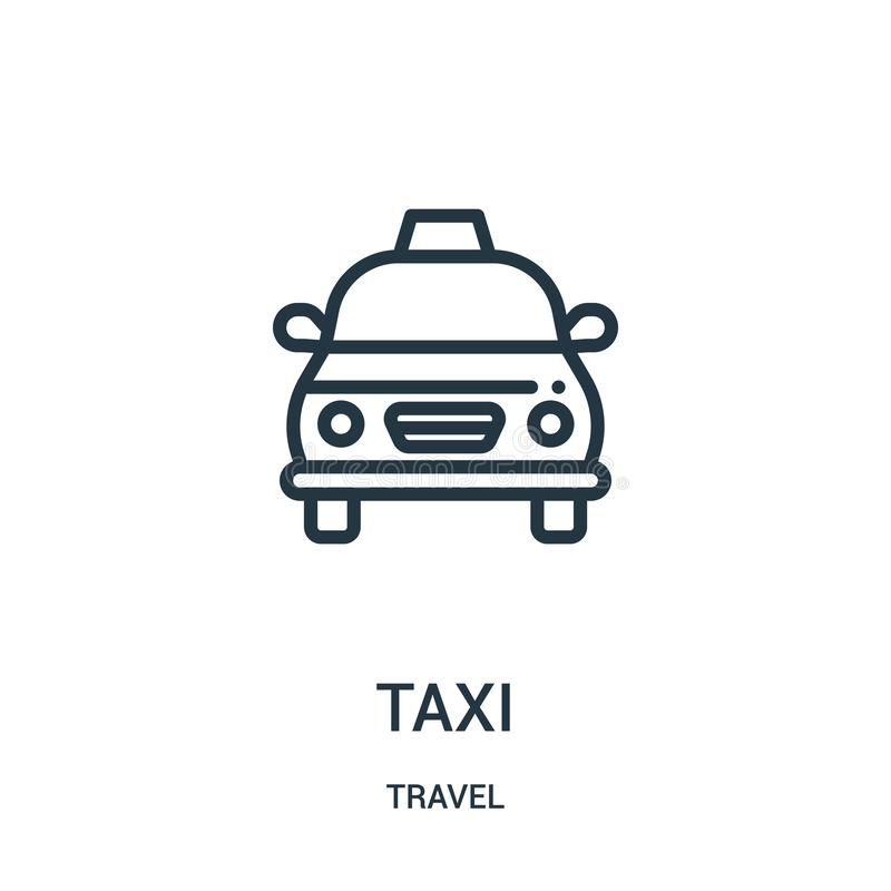 taxi icon vector from travel collection. Thin line taxi outline icon vector illustration. Linear symbol for use on web and mobile vector illustration