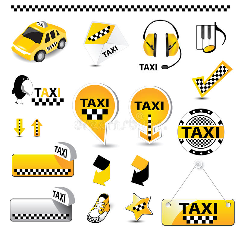 TAXI icons. Art Illustration TAXI automobile icons stock illustration