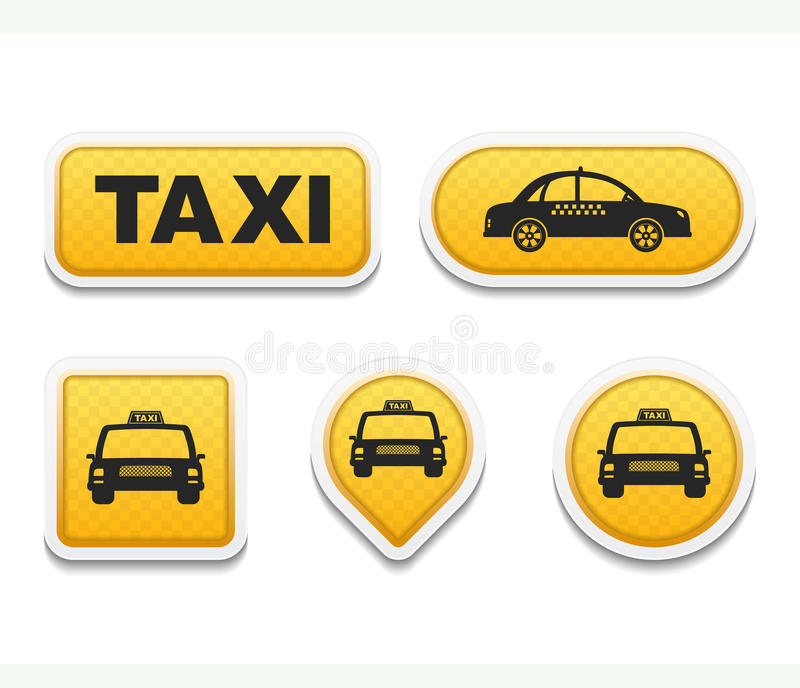 Taxi. Icons and buttons set vector illustration