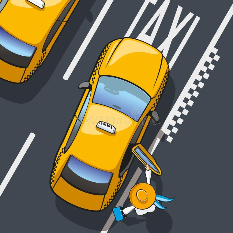 Taxi. Illustration landing in the yellow city taxi royalty free illustration