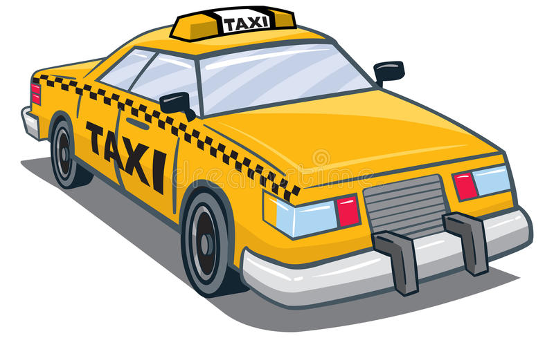 Taxi. An Illustration of a yellow taxi with taxi on top and side royalty free illustration