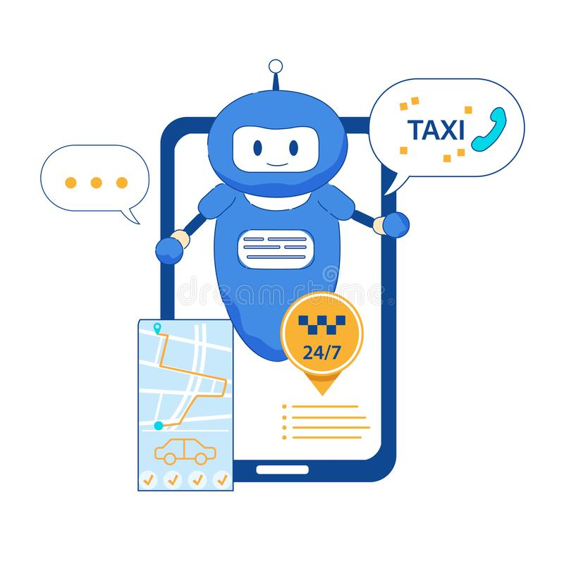 Taxi intelligent de Chatbot appelle l'appli mobile avec GPS illustration libre de droits