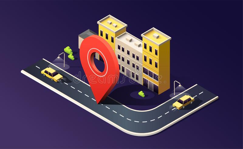 Isometric city with building, street, road, car and location pin on dark purple. 3D vector illustration. Isometric city with building, street, road, car and vector illustration