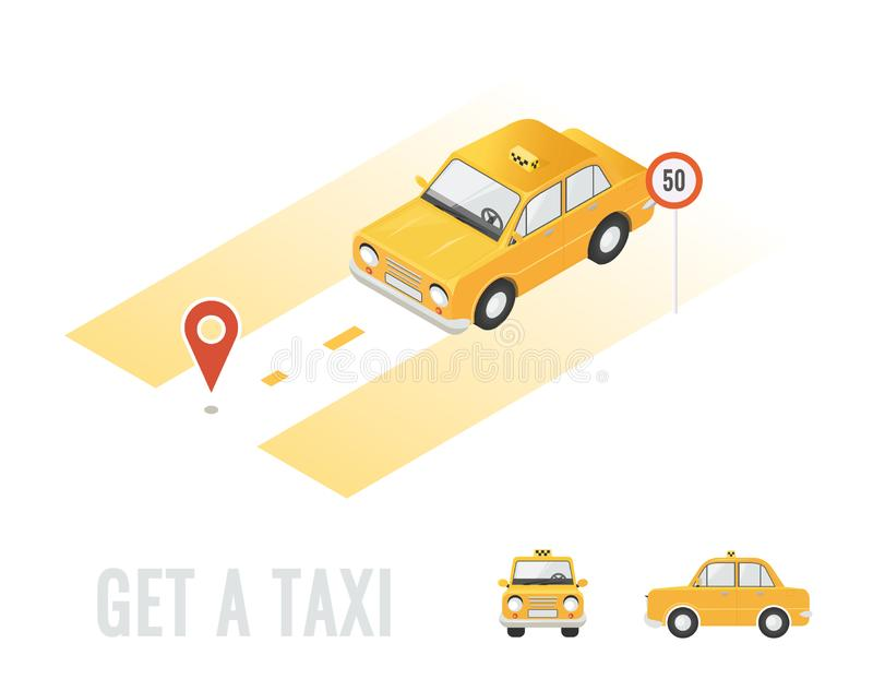 Taxi isometric isolated. Different sides of car. Online order taxi service horizontal illustration. Navigation and route. Flat royalty free illustration