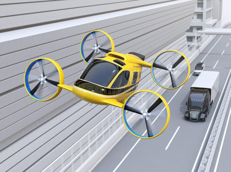 Taxi jaune de bourdon de passager volant au-dessus du camion américain conduisant sur la route illustration libre de droits