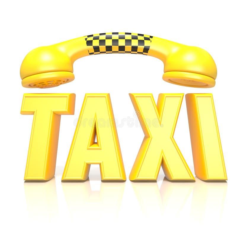 Taxi jaune de mot avec le combiné de téléphone, 3D illustration de vecteur