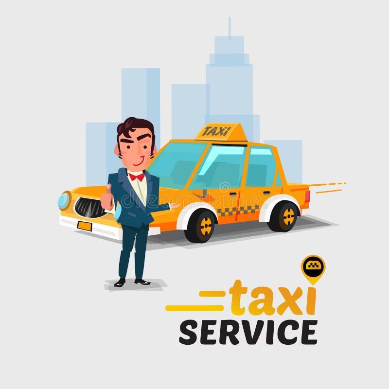 Taxi kierowca w mile widziany akci i samochód taxi pojęcia pojęcie Cha royalty ilustracja