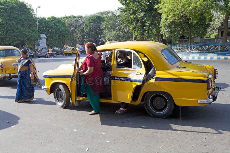 Taxi in Kolkata, India stock foto's