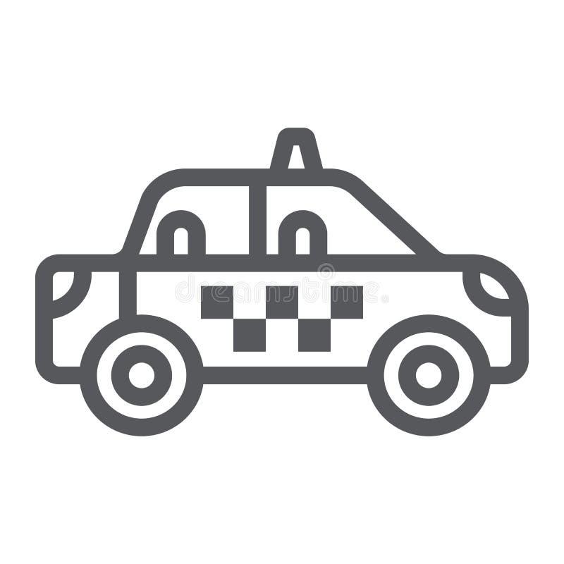 Taxi kreskowa ikona, transport i samochód, taksówka znak, wektorowe grafika, liniowy wzór na białym tle ilustracja wektor