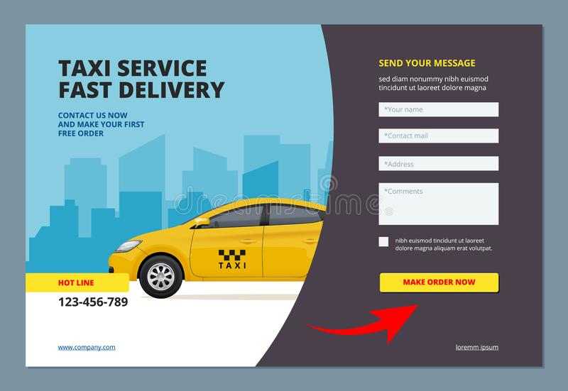 Taxi landing. Booking car promotion city service with web form for making order online vector web page layout template. Illustration of online service taxi royalty free illustration