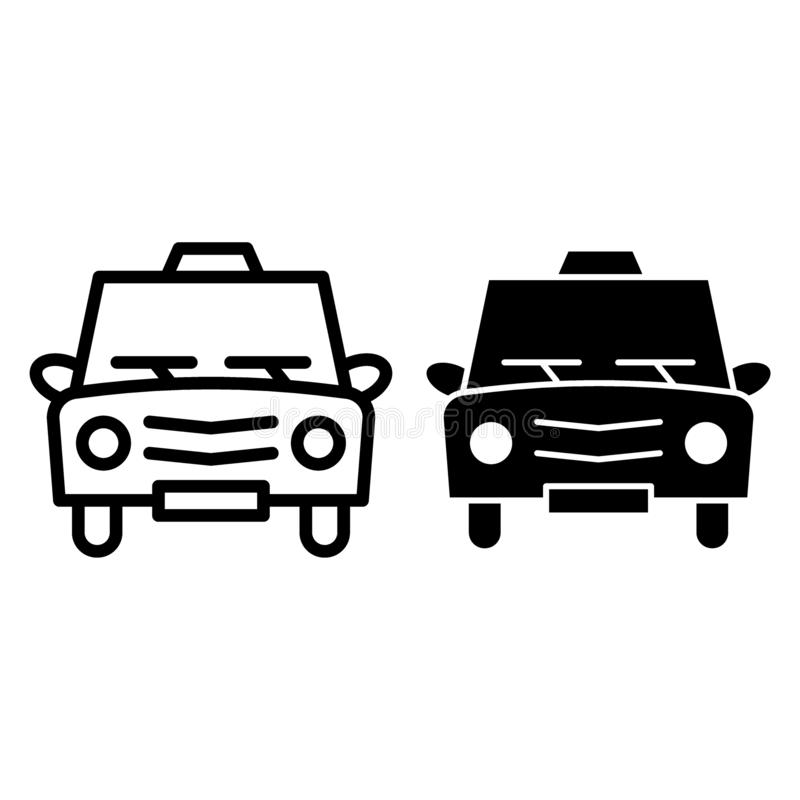Taxi line and glyph icon. Cab vector illustration isolated on white. Car outline style design, designed for web and app. Eps 10 royalty free illustration