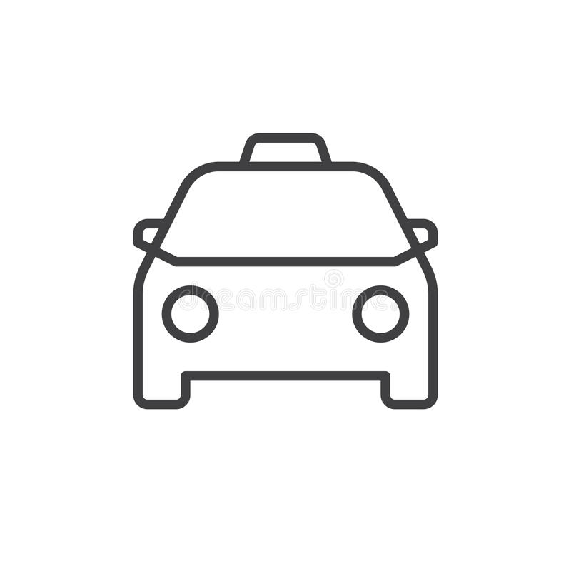 Taxi line icon. Outline vector sign, linear style pictogram isolated on white. Symbol, logo illustration. Editable stroke. Pixel perfect vector graphics vector illustration