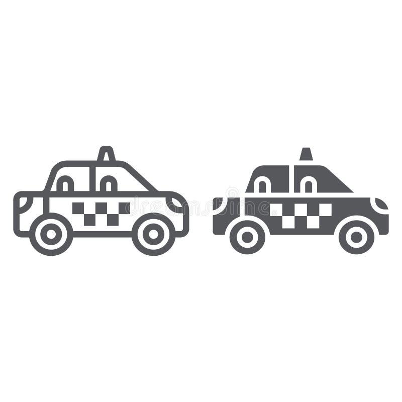 Taxi linia, glif ikona, transport i samochód, taksówka znak, wektorowe grafika, liniowy wzór na białym tle ilustracja wektor