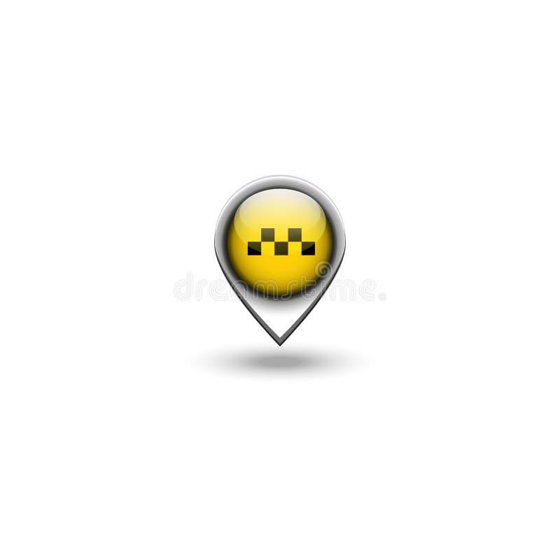 Taxi logo transportu lokacji 3D szpilka, miasto pozycji taksówki nawigacji emblemat ilustracja wektor