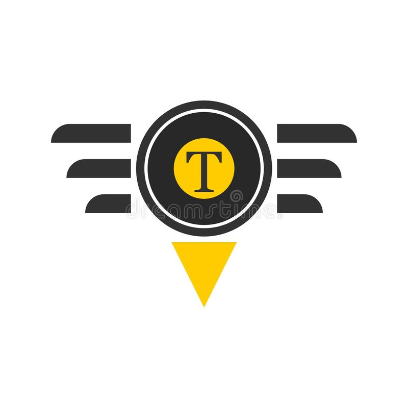 Taxi logotype in ronde die vorm op wit wordt geïsoleerd stock illustratie