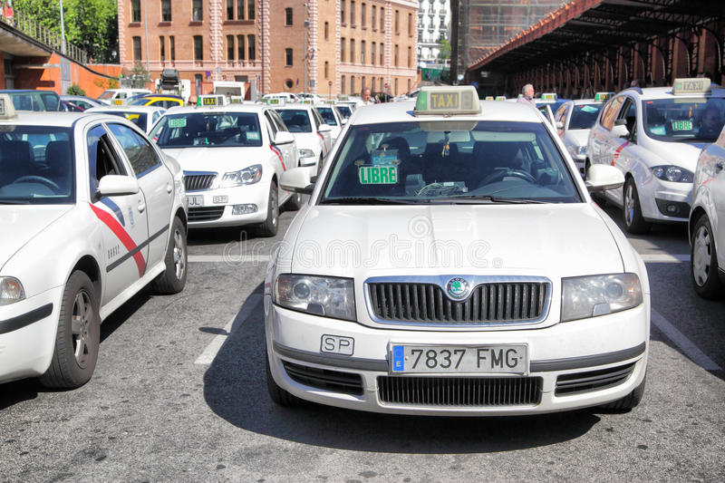 Taxi in Madrid stock images