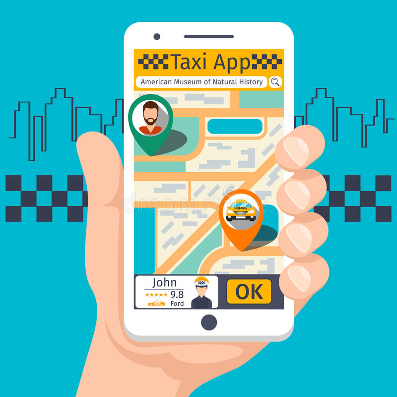Taxi mobile app template set vector illustration