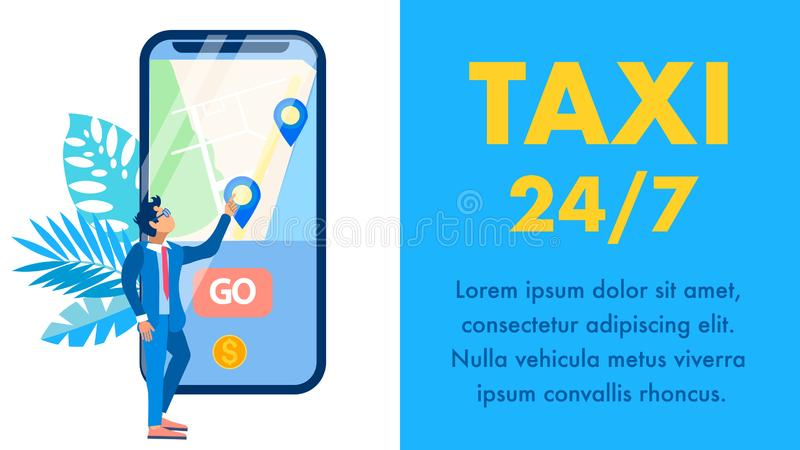 Taxi Mobile Application Flat Vector Banner Layout. Chauffeur, Cab Driver Cartoon Character. Urban Transportation Service, City Travel Business. Map on stock illustration
