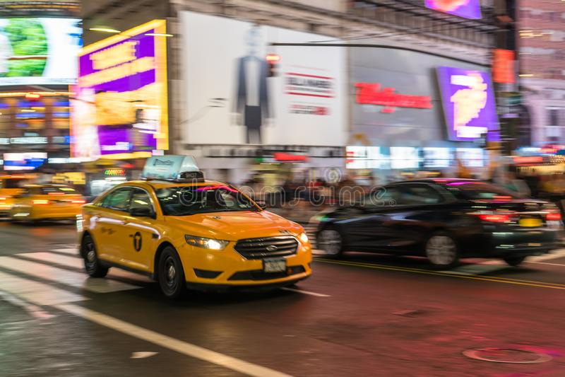 Taxi in NYC-Stormloop stock afbeelding