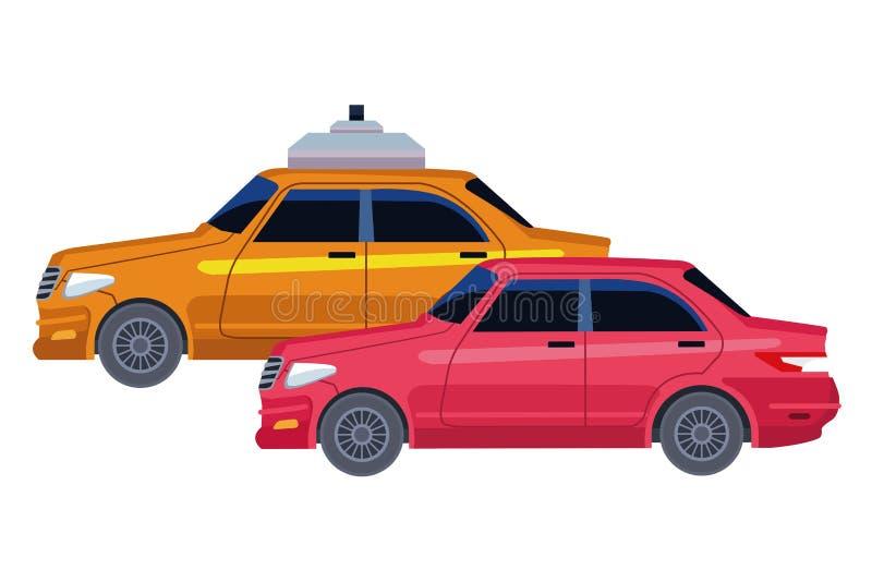 Taxi- och medelsymbolstecknad film royaltyfri illustrationer