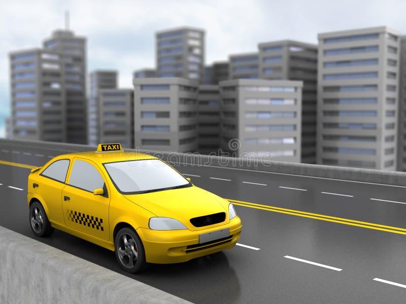 Taxi och stad royaltyfri illustrationer