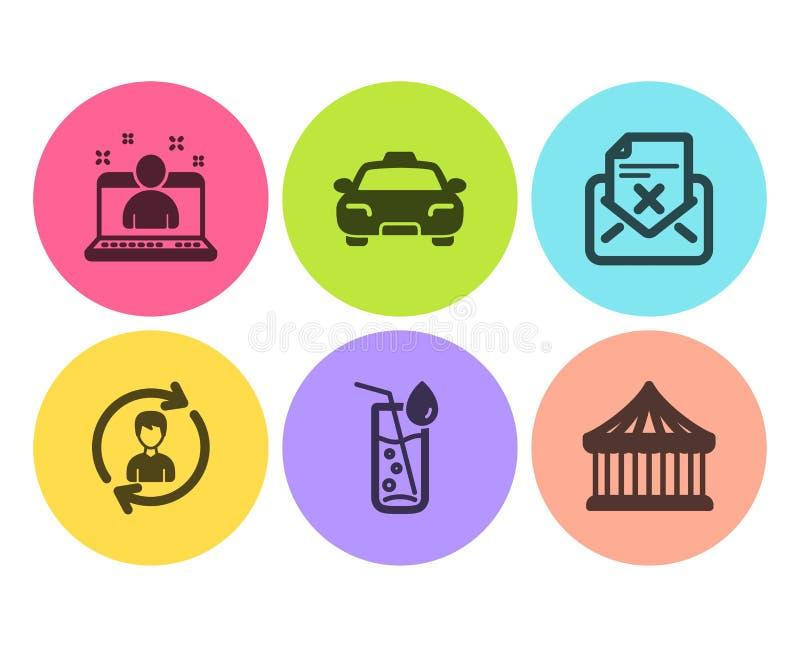 Taxi, odrzutu list i dział zasobów ludzkich ikony ustawiać, Wodny szkło, Najlepszy kierownik i Carousels znaki, wektor royalty ilustracja