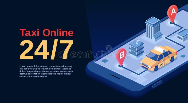 Taxi online ilustracyjny reklamowy plakat isometric samochodowa przejażdżki usługa mapy nawigacja na smartphone zastosowaniu ilustracja wektor