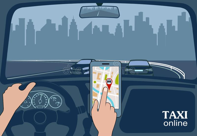 Taxi online view from the car stock illustration