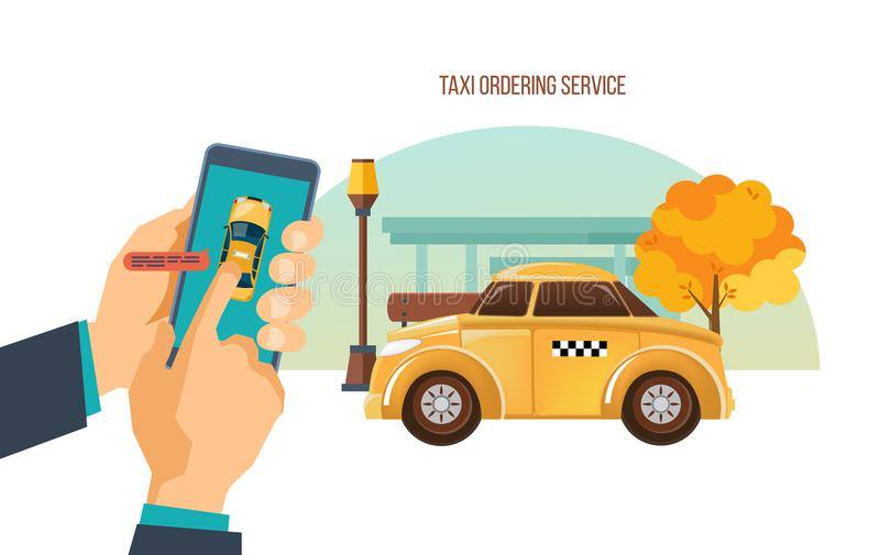 Taxi order service. Online service, call by phone, mobile application. vector illustration