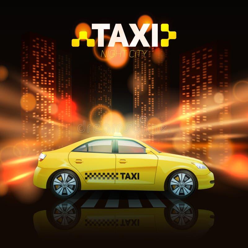 Taxi på stadsbakgrund vektor illustrationer