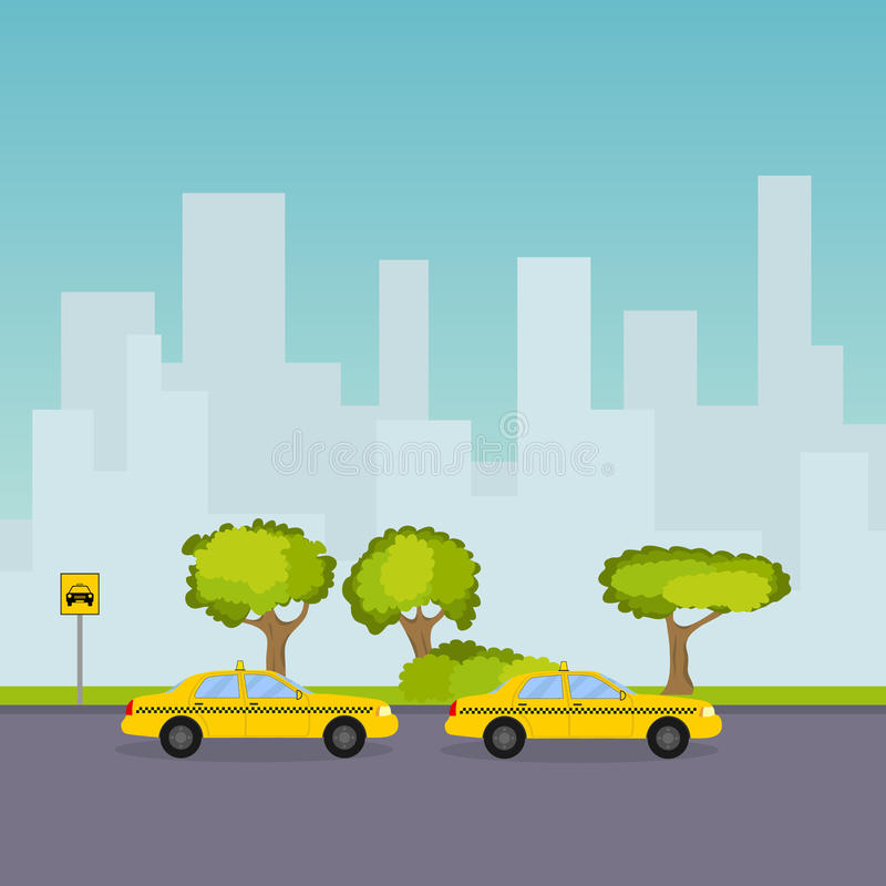 Taxi parking on the background of the cityscape vector illustration