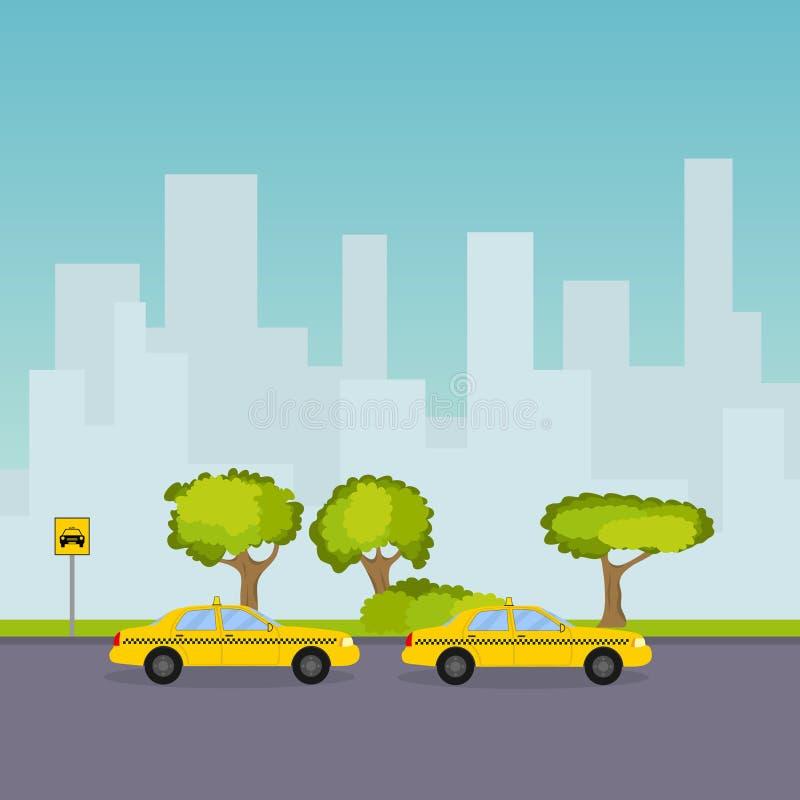 Taxi parking na tle pejzaż miejski ilustracja wektor