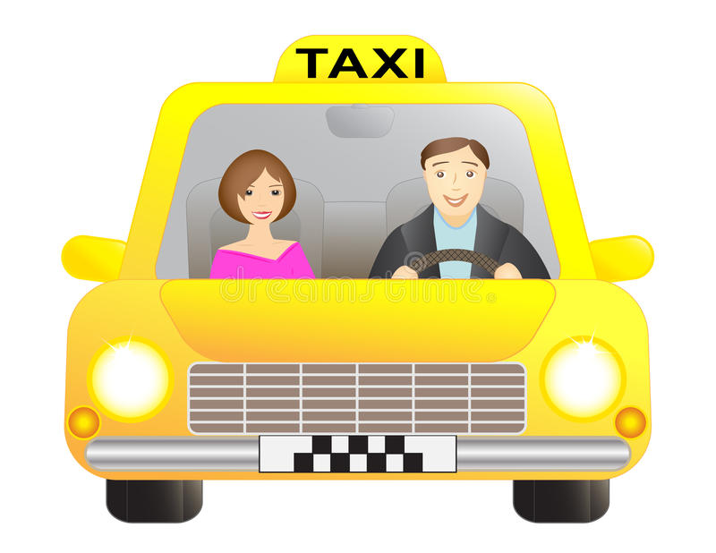 Taxi and passenger royalty free illustration