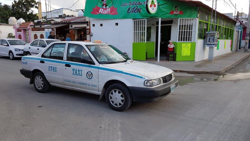 Taxi in playa del carmen, mexico stock image