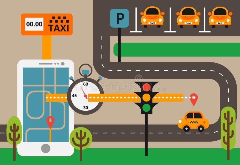 Taxi pubblico sulla linea servizio, applicazione mobile Mappa di navigazione illustrazione vettoriale