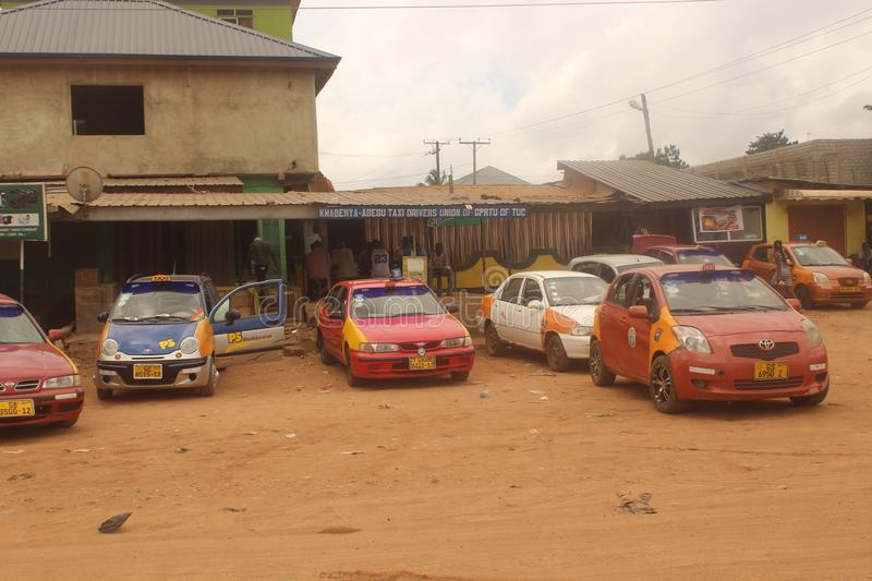 Taxi rank in Kwabenya. Taxi rank public transport for locals in Ghana royalty free stock photos
