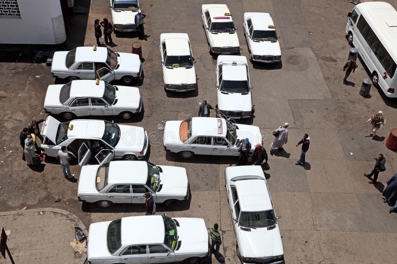 Taxi rank in Rabat, Morocco royalty free stock photography