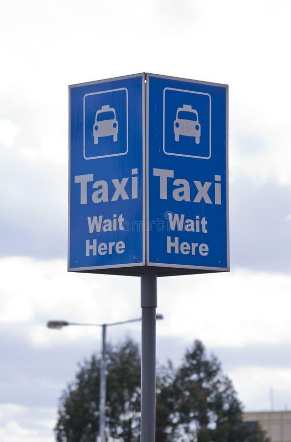 Taxi rank sign. Taxi blue rectangular rank sign stock image