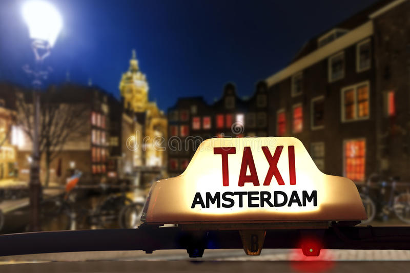 Taxi at the red light district stock photo