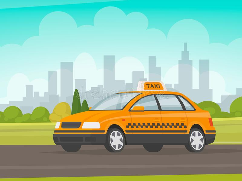 Taxi rides on the city background. Cab. Vector illustration. In a flat style stock illustration