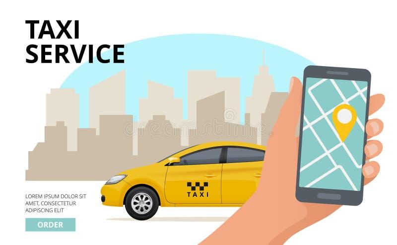 Taxi rozkaz Wręcza mienia smartphone i pchnięcie guzika wywoławczego biznesowego miasta podróży jawny miastowy samochodowy wektor royalty ilustracja