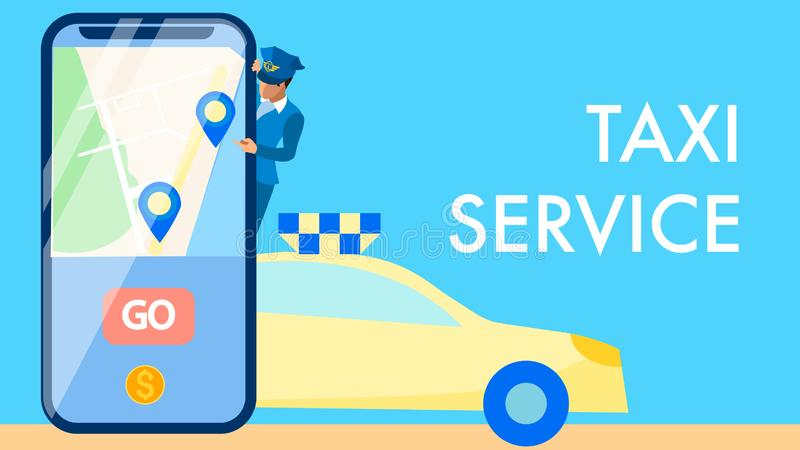 Taxi Service Application Vector Banner Concept. Chauffeur in Uniform Cartoon Character. Map and GPS Icons on Smartphone Screen. Cab Call, Transport Delivery stock illustration