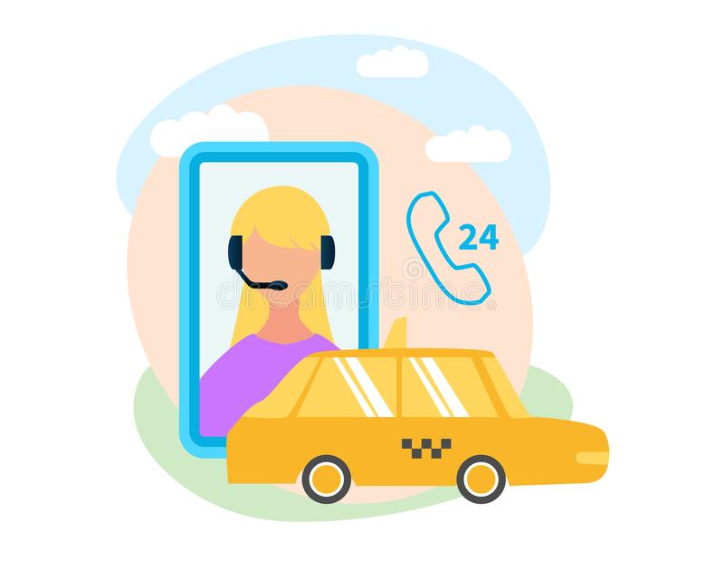 Mobile App for Booking Taxi Flat Vector Icon. Taxi Service around-The-Clock Call Center, Mobile Application Flat Vector Icon Isolated on White Background. Yellow vector illustration