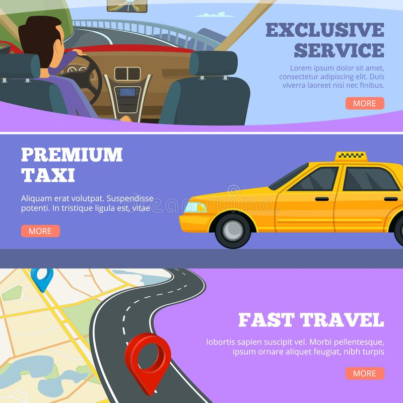 Taxi service banners. Yellow service cars driver in premium automobile road map vector flyers advertising template. Illustration of taxi service, car cab vector illustration