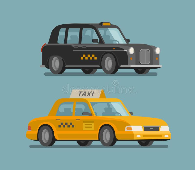 Taxi service, cab concept. Car, vehicle, transport, delivery icon or symbol. Cartoon vector illustration stock illustration
