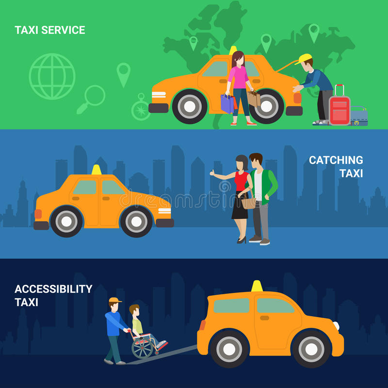 Taxi service catching accessibility helping icon banner set vector illustration