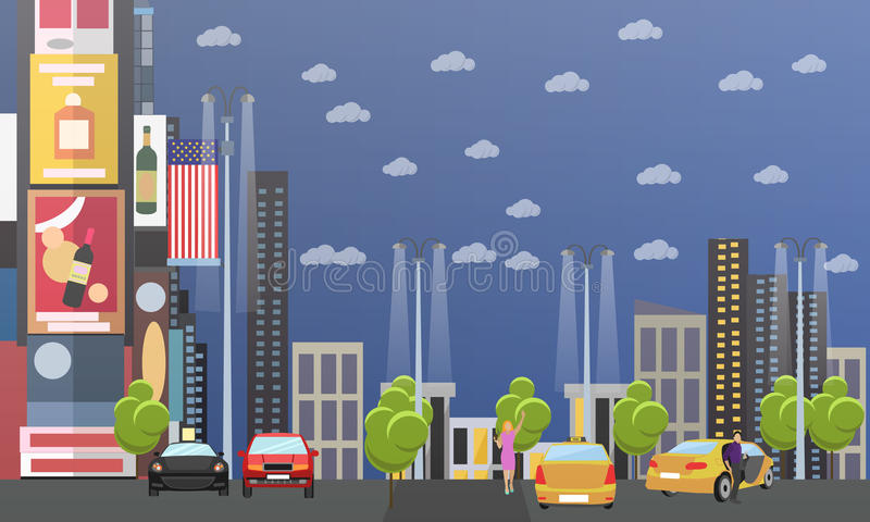 Taxi service company concept vector banner. People catch cab on a street stock illustration